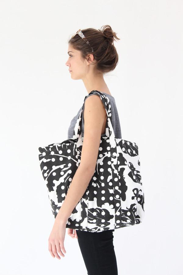 Lina Rennell Canvas Tote Bag Black Leaf Dot