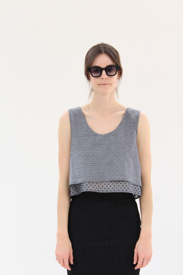Lina Rennell Crop Double Layer Tank Swiss Dot