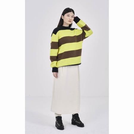 Girls Of Dust Kid Mohair Stripe Sweater - Yellow