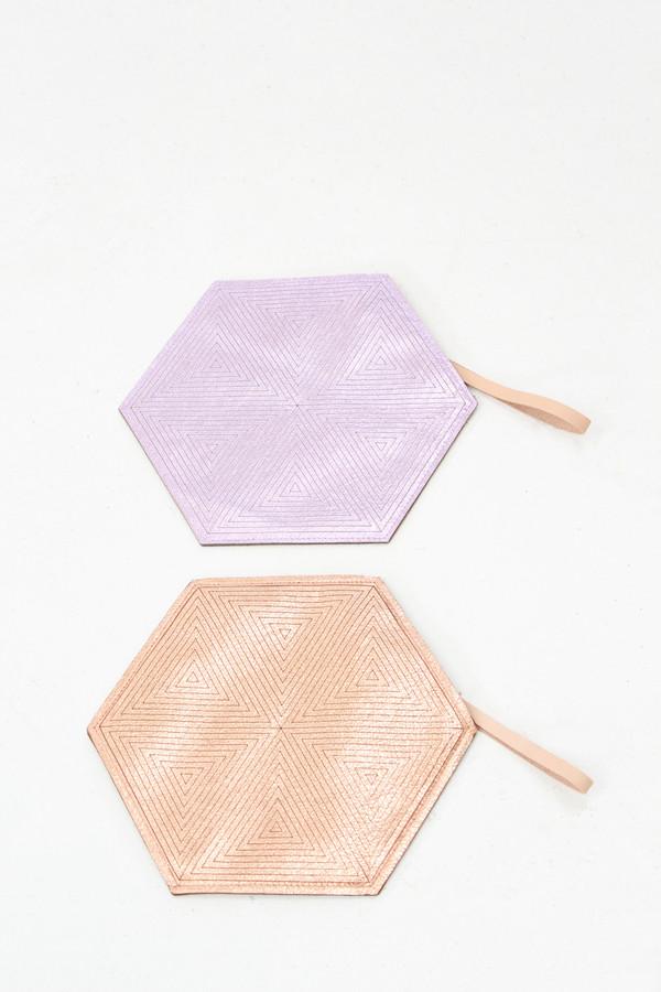Molly Designs Metallic Leather Hexagon Pouch