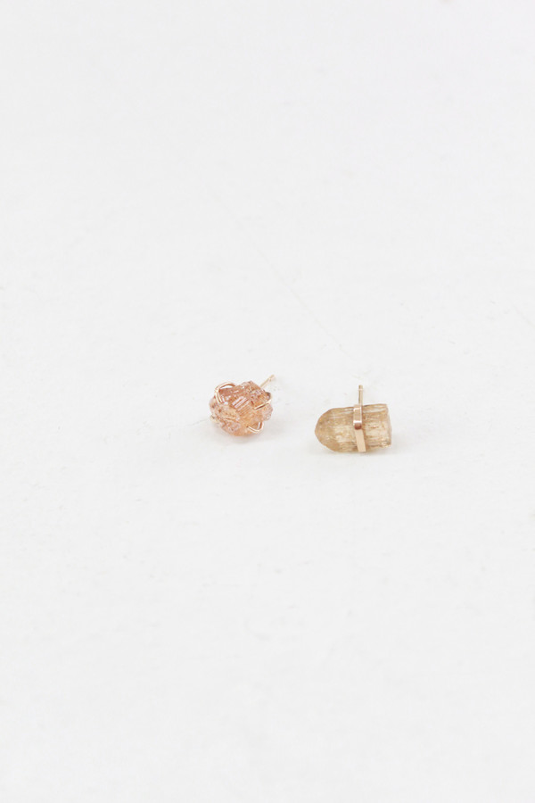 MJM Garnet And Topaz Mismatched Stud Earrings