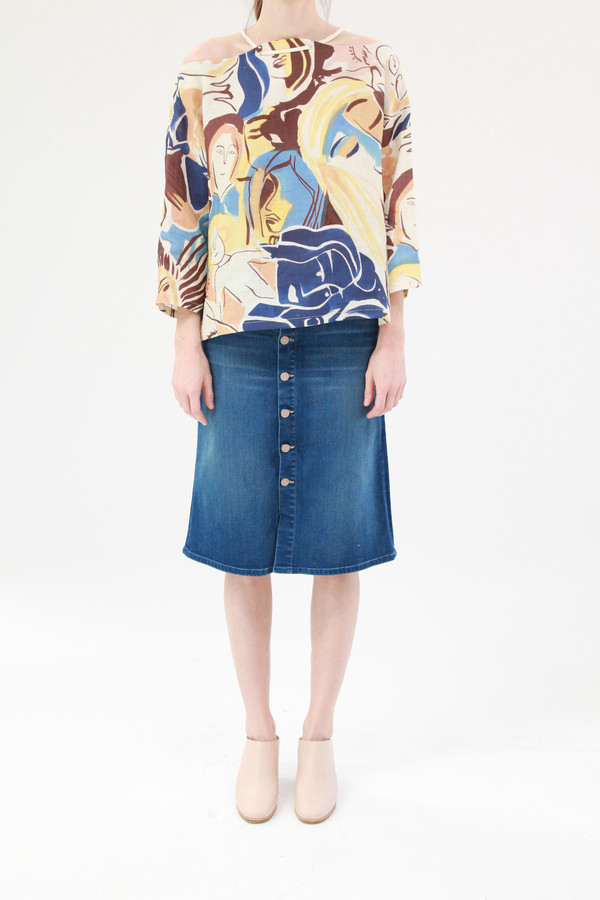 Mother Denim High Waisted Button Down Midi Skirt