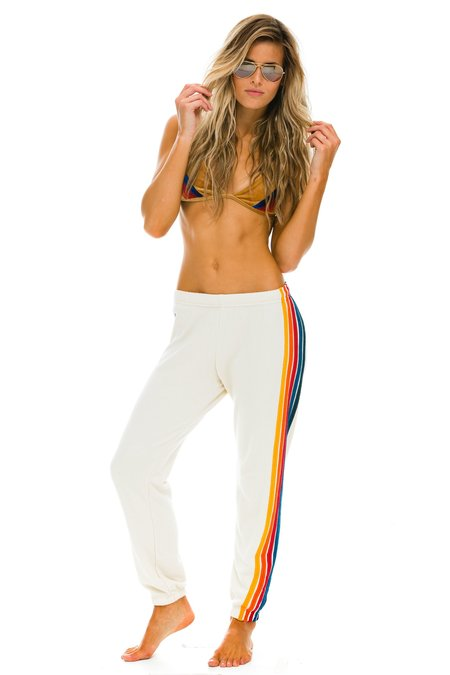 Aviator Nation 5 Stripe Sweatpants - Vintage White