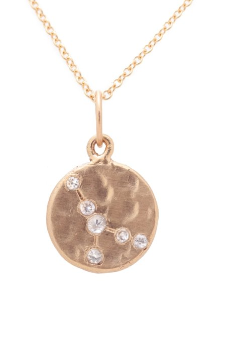 Valley Rose Cancer Constellation Necklace - 14k gold/White Sapphire