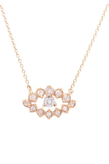 Valley Rose Large Eos Eye Necklace - 14k gold/White Sapphire