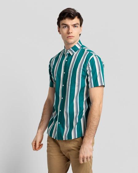 Poplin & Co. Casual Button Down Short Sleeve Shirt - Retro Stripe