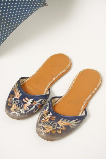 VINTAGE CHINESE SLIPPERS - Blue/brown