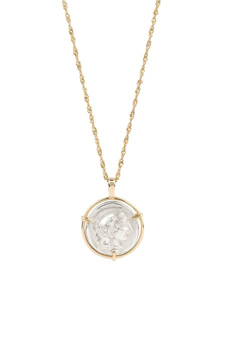Eikosi Dyo Athena Medal Necklace - 14K Gold/Silver