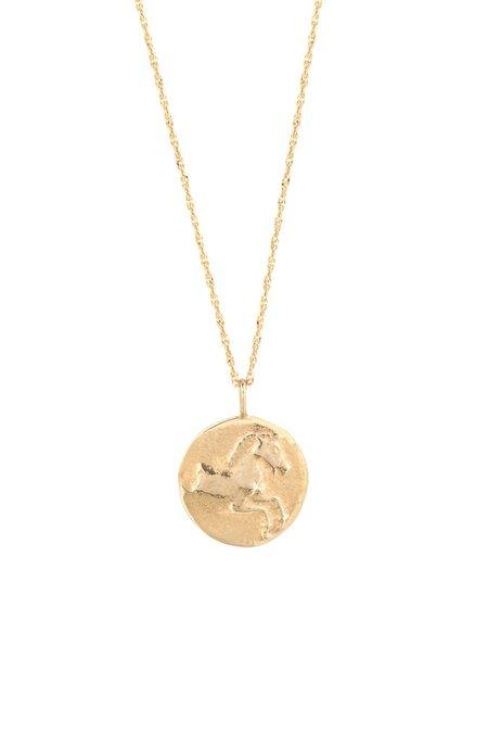 Eikosi Dyo Icon Horse Coin Medal Necklace - 14K Yellow Gold