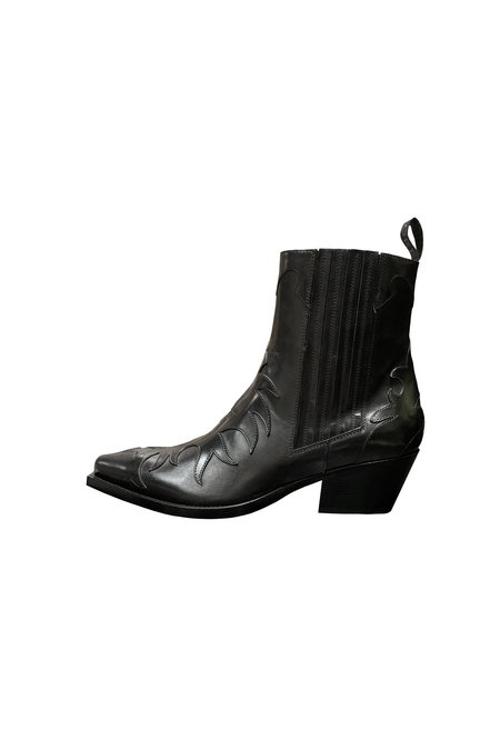 Sartore Western Applique Ankle Boot - Black Leather