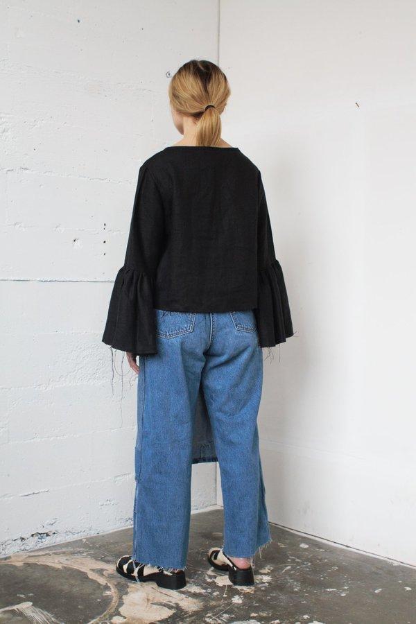 denim patch skirt pants