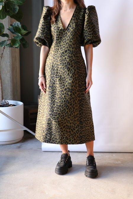 Ganni Crispy Jacquard Dress - Olive Drab