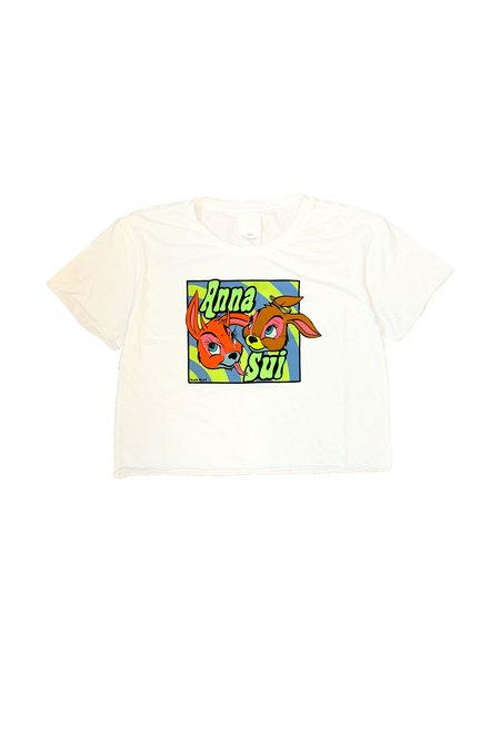 Anna Sui Cropped Good Bunny/Bad Bunny Tee - White