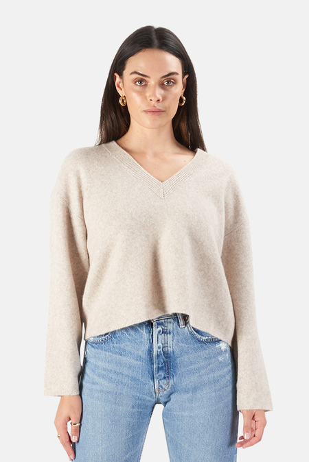 Moussy Wool Cashmere Knit Top Sweater - Ivory