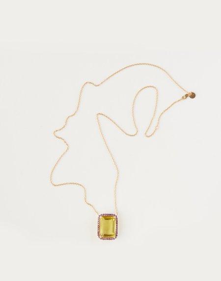 Jessica Farrugia Lemon Quartz with Amethyst Pendant