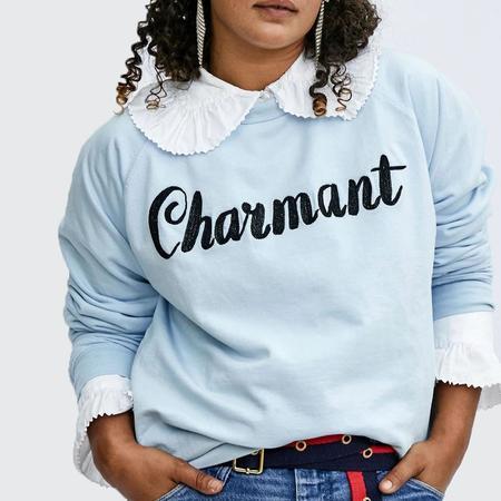 Clare V. Charmant Sweatshirt - Light Blue