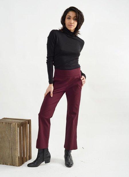 Meg Big Slit Pant - Burgundy
