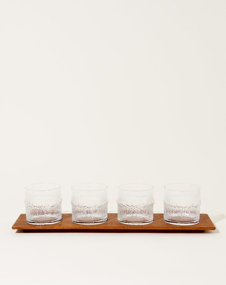 Vintage Set of Four Iittalia Cocktail Glasses with Tray