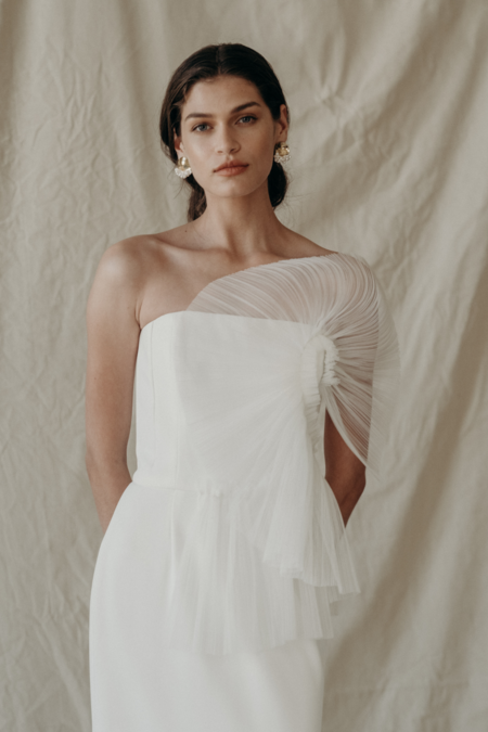 Pre-loved Newhite Tulle Fanning Bustier Dress - WHITE
