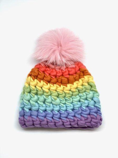 Kids Mischa Lampert  XL pom pastel stripe beanie - Baby pink/rainbow