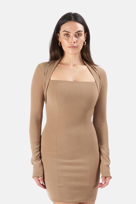 Nanushka Maria Fitted Mini Dress - Khaki