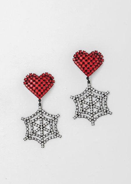 Ashley Williams Crystal Heart Cobweb Earring - Red/Clear