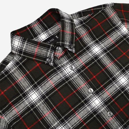 Outclass Plaid Flannel Shirt - Olive Herringbone