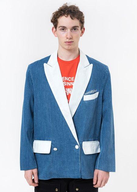 Ann Andelman Denim Oversized Blazer - Blue