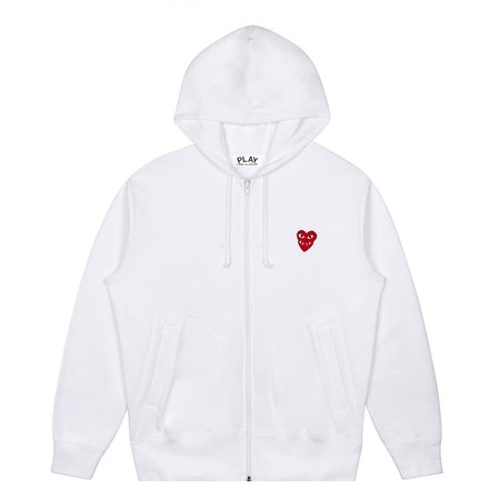 Comme des Garçons Stacked Heart Hooded Sweatshirt - White/Red