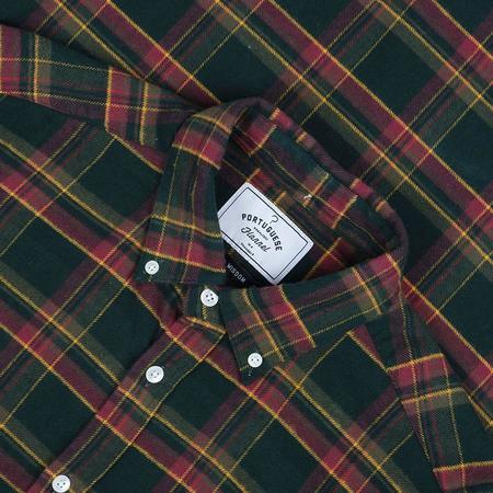 Portuguese Flannel Billiard Check Plaid Flannel Shirt - Forest Green