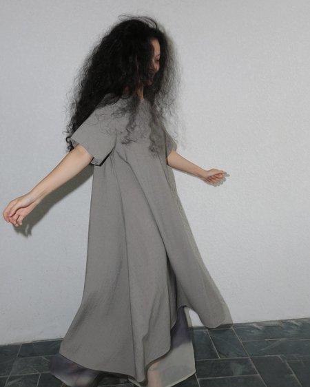 KAAREM Mud Short Sleeve Tent Midi Dress - Sage Green