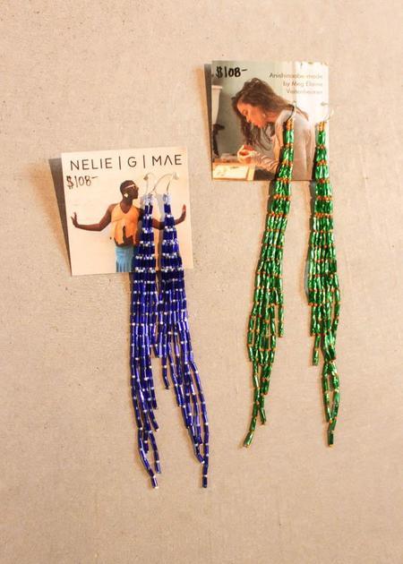Nelie G. Mae Feathered Beaded Earrings - Blue/Green