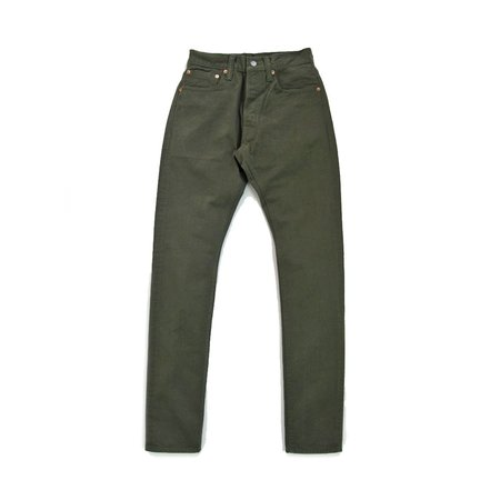 Pure Blue Japan 12oz Selvedge Twill Relaxed Fit Chino - Wash Olive