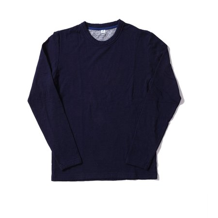 Pure Blue Japan Knitted Double Face Crewneck LS Tee - Indigo