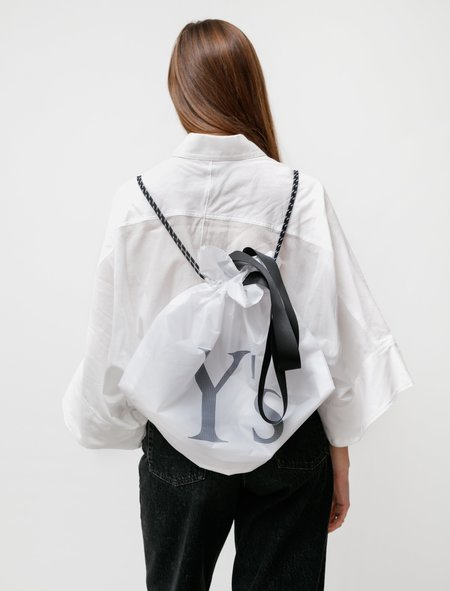 Y's by Yohji Yamamoto Ripstop Logo Backpack - White