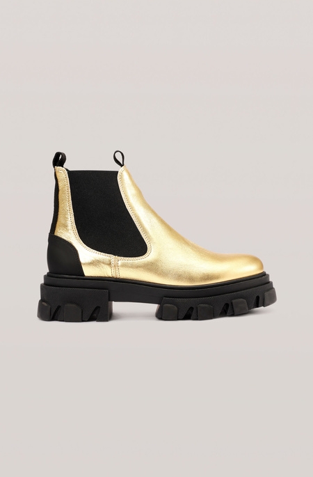 Ganni Lug Sole Low Chelsea Boot - Gold