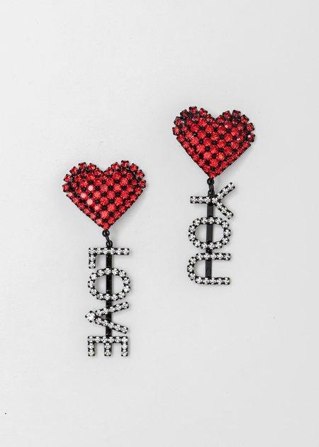 Ashley Williams Drop Heart Love You Earring - Silver