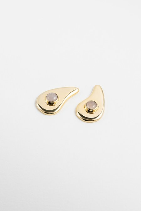 ARO Wavy Earrings -  24kt Gold Plated/silver/Rose Quartz