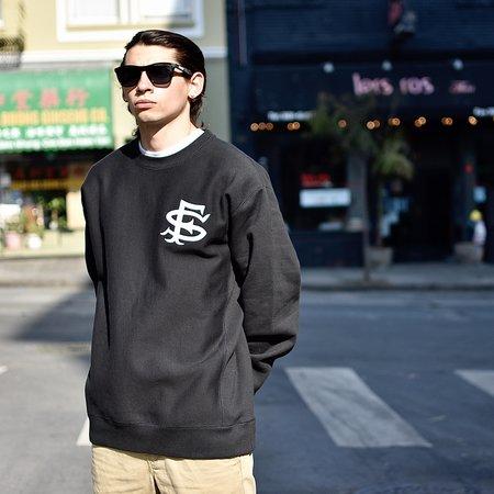 Tilted Brim SF Interlock Crewneck Sweatshirt - Black