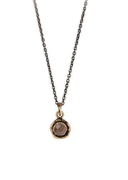 Pyrrha Smoky Quartz Faceted Stone necklace - Bronze