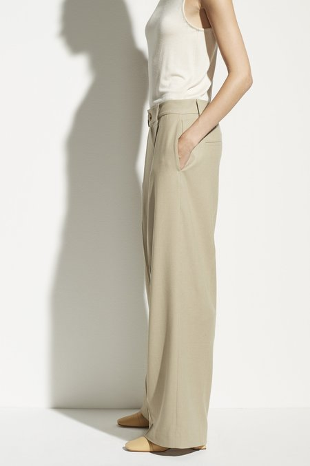 VINCE Flannel Pleated Wide Leg Pants - Sepia