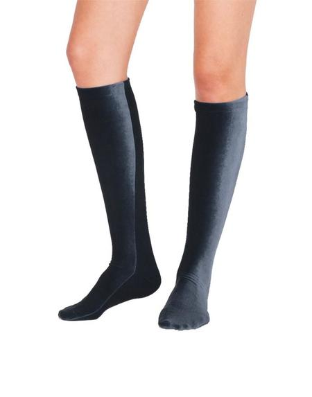 Simone Wild  Knee Socks - Anthracite Velvet