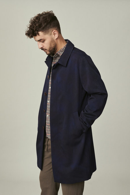 Delikatessen Exclusive Hand Spray Dyed Coat in High End Italian Virgin Wool and Cotton - Blue