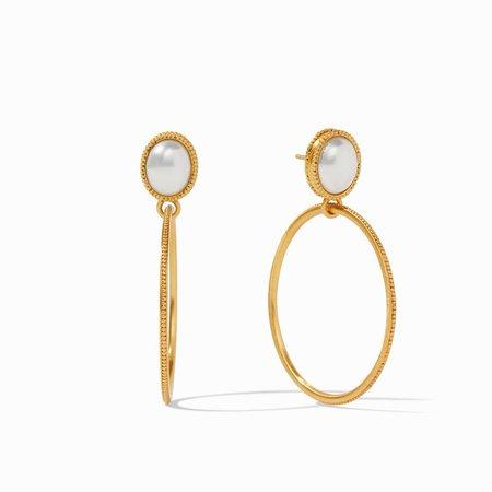 Julie Vos Verona Statement Earring - 24k gold plate/pearl
