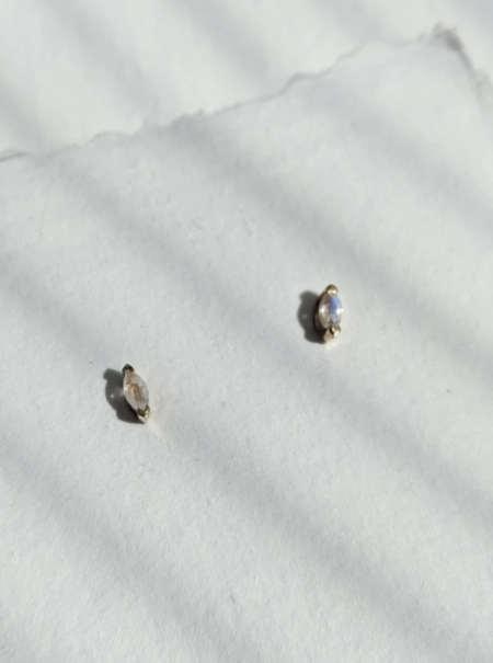 Little Gold Moonstone Marquise Studs - Gold Vermeil