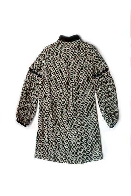 Anna Sui Deco Daisy Crepe V-neck Dress