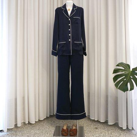 Olivia Von Halle Coco Silk Pyjama Set - Navy