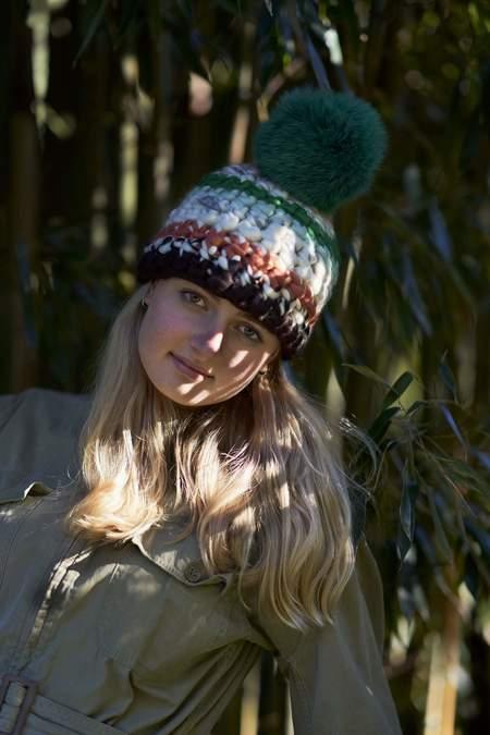 Mischa Lampert XL pom tib stripe beanie - Green