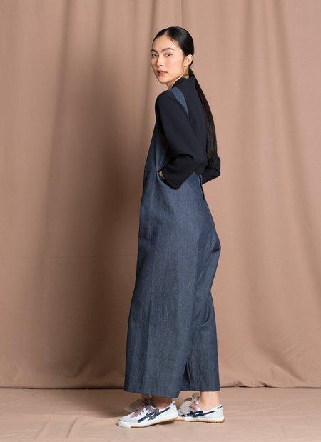 KAAREM Nung Low Back Pocket Denim Onesie - Dark Blue