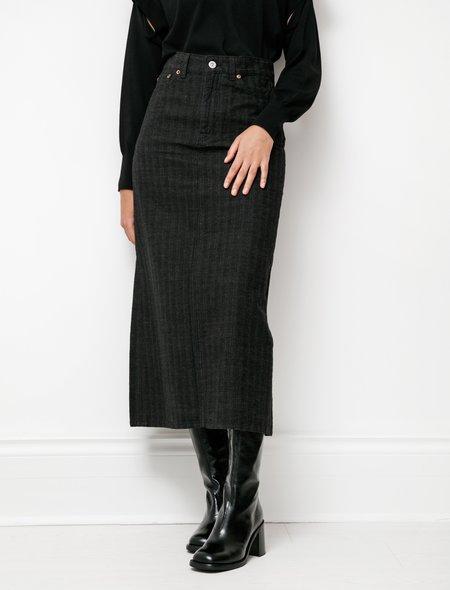 Our Legacy Full Denim Skirt - Tobacco/White Herringbone